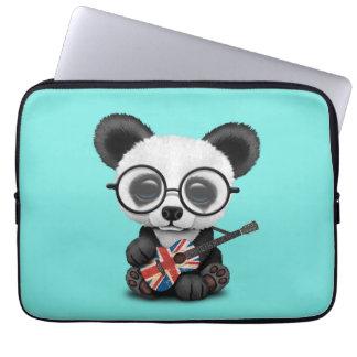 Baby Panda Playing British Flag Guitar Laptop Sleeve
