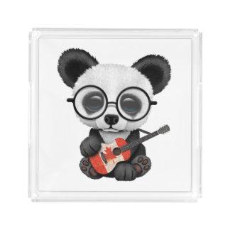 Baby Panda Playing Canadian Flag Guitar Acrylic Tray
