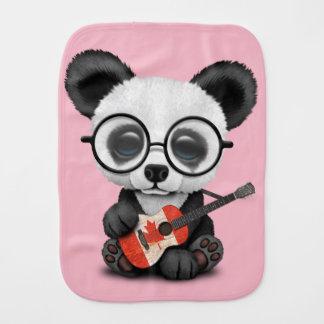 Baby Panda Playing Canadian Flag Guitar Burp Cloth