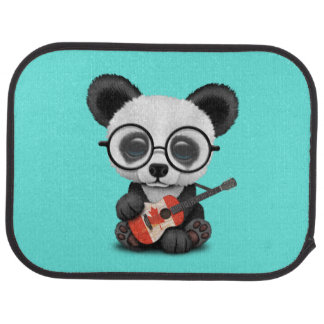 Baby Panda Playing Canadian Flag Guitar Car Mat