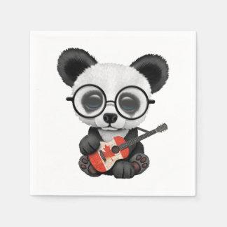 Baby Panda Playing Canadian Flag Guitar Disposable Napkin