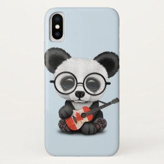 Baby Panda Playing Canadian Flag Guitar iPhone X Case