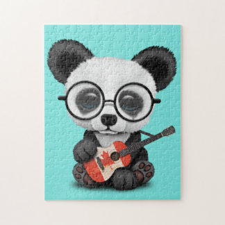 Baby Panda Playing Canadian Flag Guitar Jigsaw Puzzle