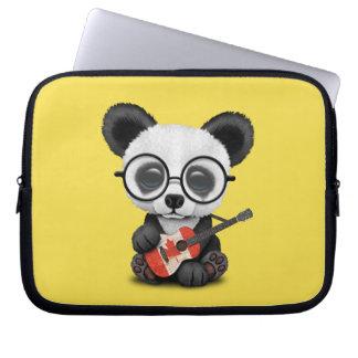 Baby Panda Playing Canadian Flag Guitar Laptop Sleeve