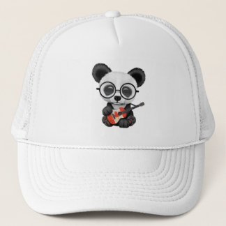 Baby Panda Playing Canadian Flag Guitar Trucker Hat