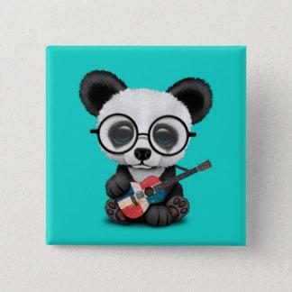 Baby Panda Playing Dominican Flag Guitar 15 Cm Square Badge