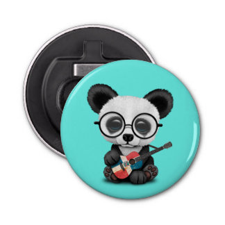 Baby Panda Playing Dominican Flag Guitar Bottle Opener