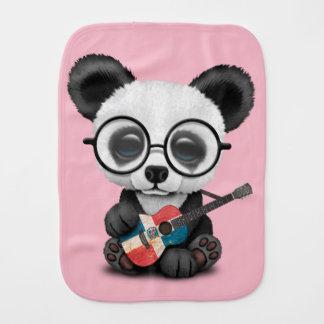 Baby Panda Playing Dominican Flag Guitar Burp Cloth