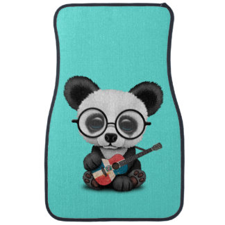 Baby Panda Playing Dominican Flag Guitar Car Mat