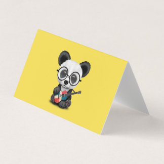 Baby Panda Playing Dominican Flag Guitar Card