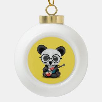Baby Panda Playing Dominican Flag Guitar Ceramic Ball Christmas Ornament