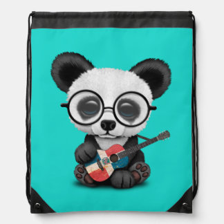 Baby Panda Playing Dominican Flag Guitar Drawstring Bag