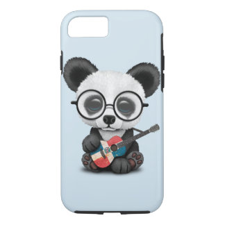 Baby Panda Playing Dominican Flag Guitar iPhone 8/7 Case