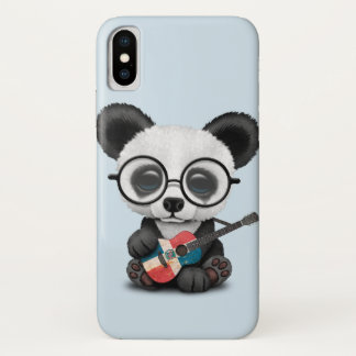 Baby Panda Playing Dominican Flag Guitar iPhone X Case