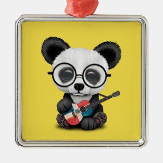 Baby Panda Playing Dominican Flag Guitar Metal Ornament