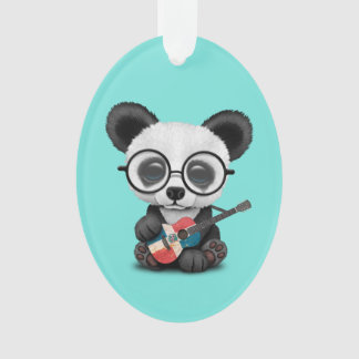 Baby Panda Playing Dominican Flag Guitar Ornament