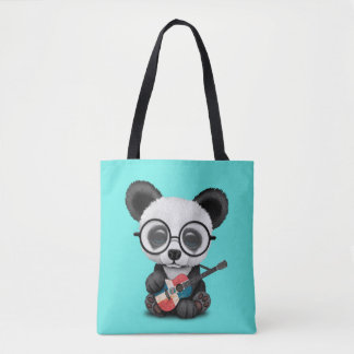 Baby Panda Playing Dominican Flag Guitar Tote Bag