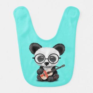 Baby Panda Playing English Flag Guitar Bib