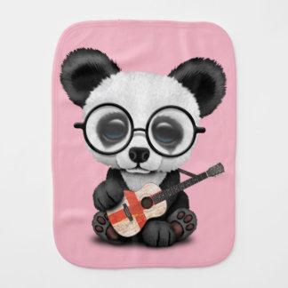 Baby Panda Playing English Flag Guitar Burp Cloth