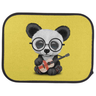 Baby Panda Playing English Flag Guitar Car Mat
