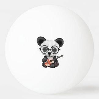 Baby Panda Playing English Flag Guitar Ping Pong Ball
