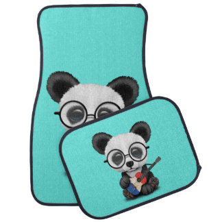 Baby Panda Playing French Flag Guitar Car Mat