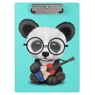 Baby Panda Playing French Flag Guitar Clipboard