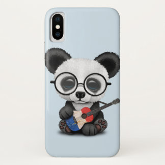 Baby Panda Playing French Flag Guitar iPhone X Case