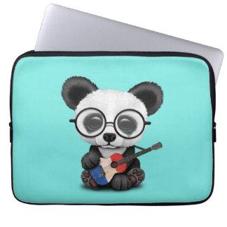 Baby Panda Playing French Flag Guitar Laptop Sleeve