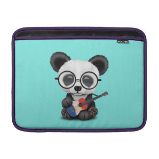 Baby Panda Playing French Flag Guitar MacBook Sleeve