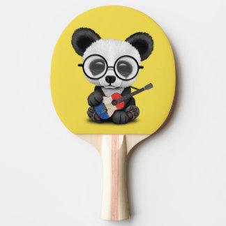 Baby Panda Playing French Flag Guitar Ping Pong Paddle