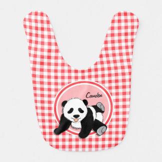 Baby Panda; Red and White Gingham Bib