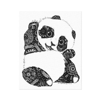 Baby Panda Waving Canvas Print