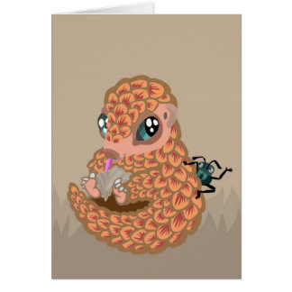 Baby pangolin with ant card
