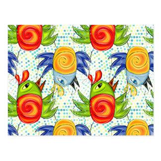 Baby parrots doodle design postcard