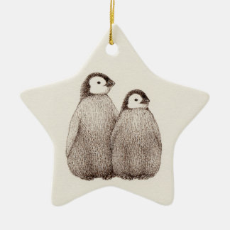 Baby Penguin Brothers Star Ornament