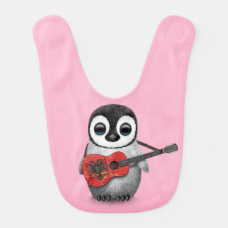 Baby Penguin Playing Albanian Flag Guitar Pink Bib