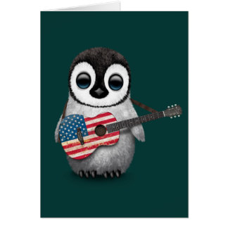 Baby Penguin Playing American Flag Guitar Teal Greeting Card