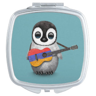Baby Penguin Playing Armenian Flag Guitar Blue Vanity Mirrors