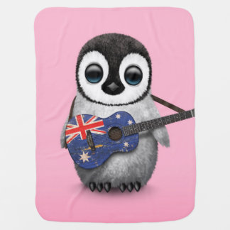Baby Penguin Playing Australian Flag Guitar Pink Buggy Blanket