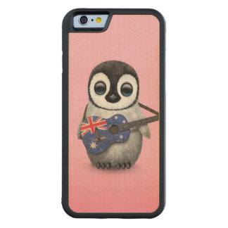 Baby Penguin Playing Australian Flag Guitar Pink Carved® Maple iPhone 6 Bumper Case