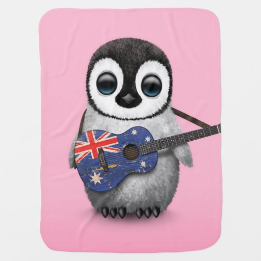 Baby Penguin Playing Australian Flag Guitar Pink Stroller Blankets
