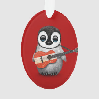 Baby Penguin Playing Austrian Flag Guitar Red