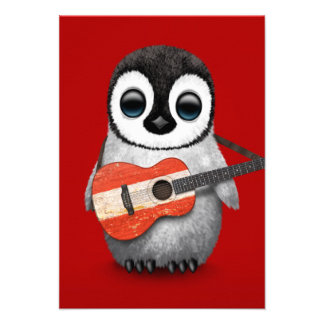 Baby Penguin Playing Austrian Flag Guitar Red Custom Invitations