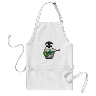 Baby Penguin Playing Brazilian Flag Guitar Aprons