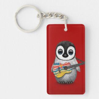 Baby Penguin Playing British Columbian Flag Guitar Acrylic Keychains