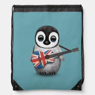 Baby Penguin Playing British Flag Guitar Blue Cinch Bag