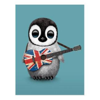 Baby Penguin Playing British Flag Guitar Blue Postcards