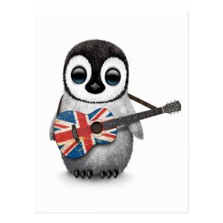 Baby Penguin Playing British Flag Guitar Postcards