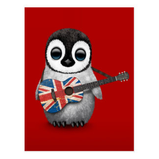 Baby Penguin Playing British Flag Guitar Red Post Card